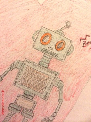 Pencil drawing of a little robot