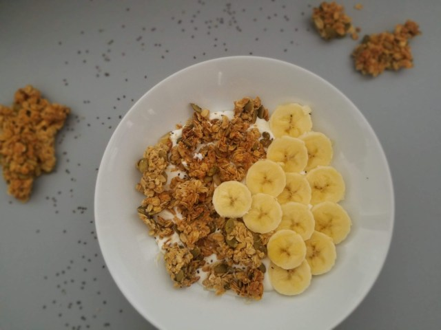 This everyday granola is made with healthy nuts and seeds. Using coconut oil and honey as a sweetener, it is a healthy breakfast option.