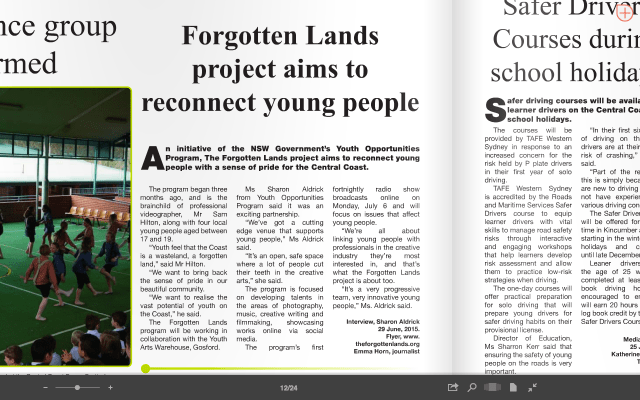 'Forgotten Lands project aims to reconnect young people' (iss. 111, pg. 12)