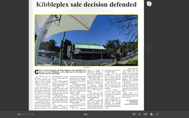 'Kibbleplex sale decision defended' (iss.113, front page). Photograph supplied by me.