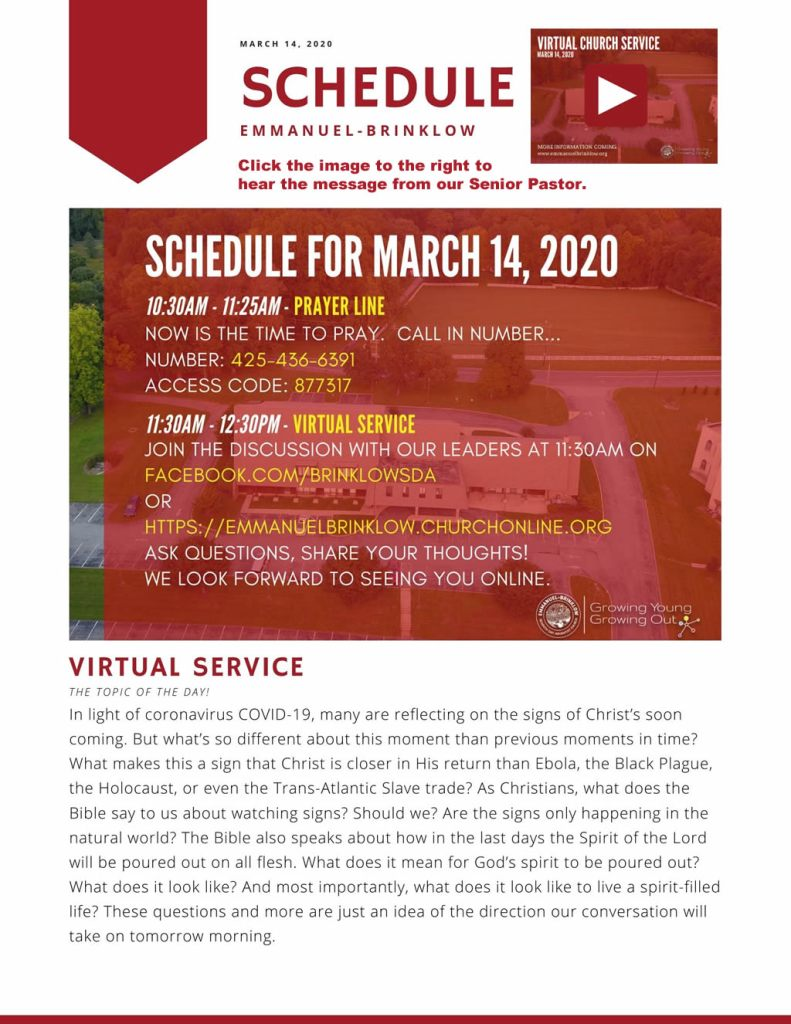Virtual Service for march 14
