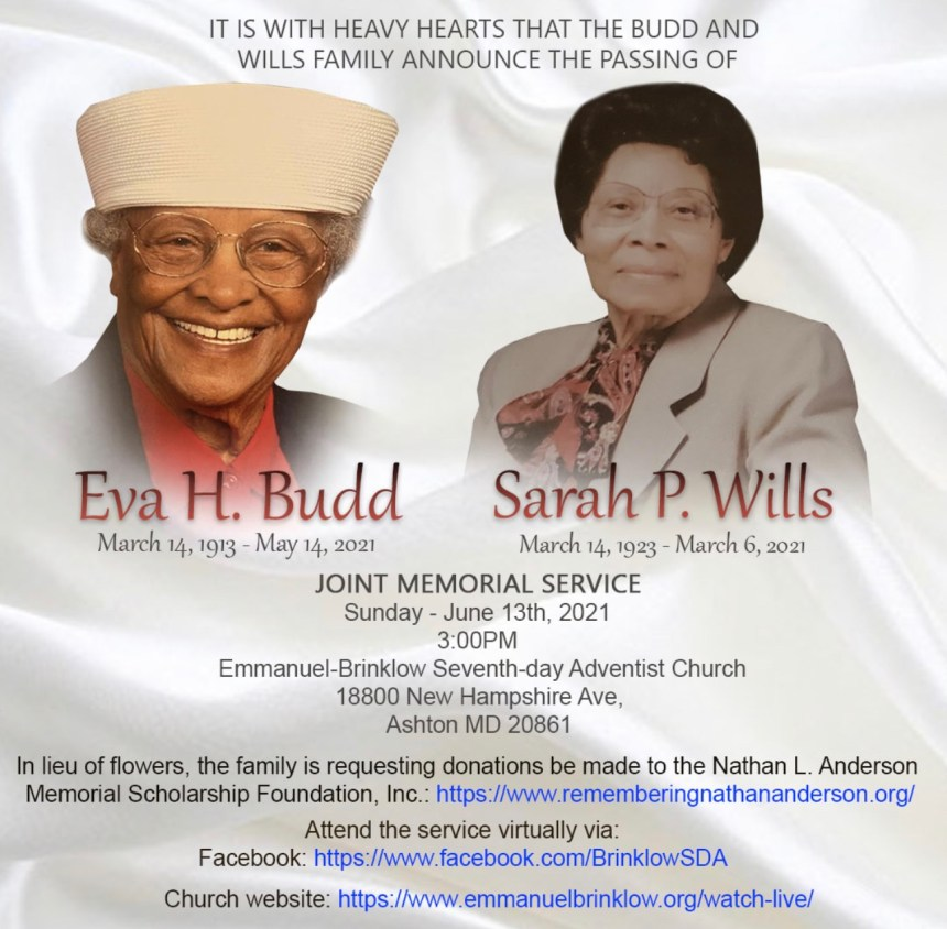 FUNERAL SERVICES FOR EVA BUDD AND SARAH WILLS