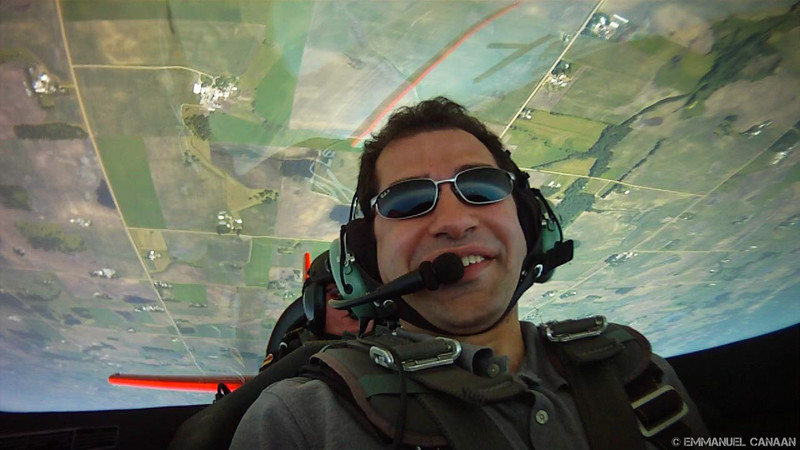 A screen grab from the in cockpit camera of Team Oracle's Extra 300 when I had my aerobatic ride with Brian Norris.