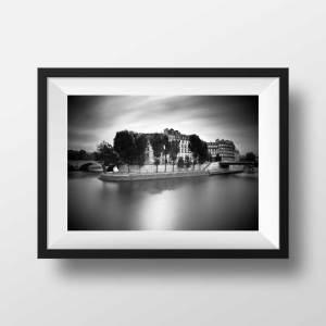 Ile Saint Louis et la Seine Image de Paris en Noir et Blanc