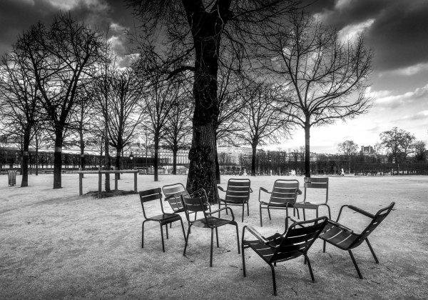 Chaises Jardin des Tuileries Photo Noir et Blanc