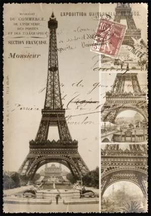 Cartes Postales Paris vintage - Construction Tour Eiffel