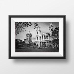 Place et Eglise Saint Sulpice Image en Noir et Blanc