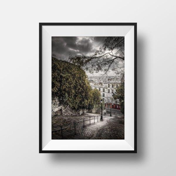 Photo Paris Montmartre Escaliers Rue Du Calvaire