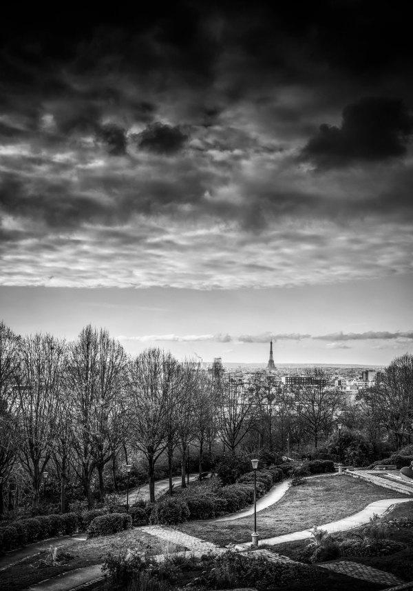 Paris Jardin Belleville Tour Eiffel en Noir et Blanc