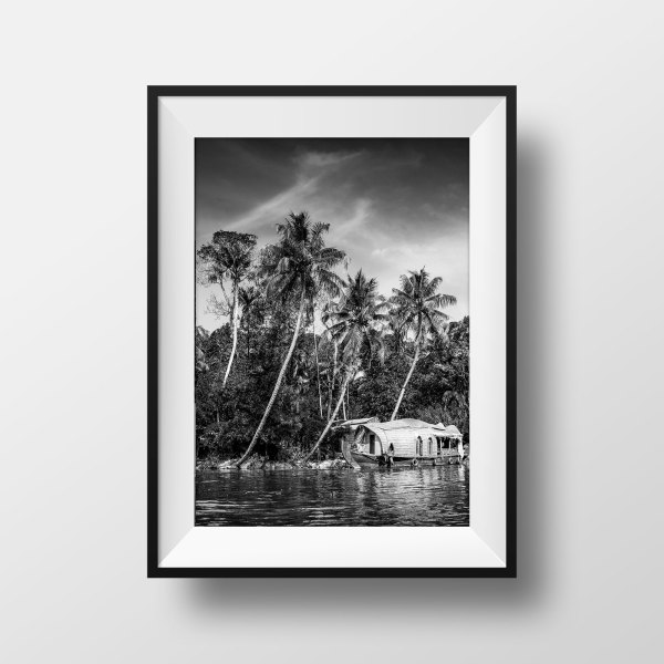 Photo Kerala Backwaters Noir et Blanc