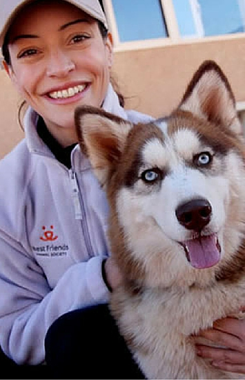 Emmanuelle Vaugier with Roja at Best Friends Animal Society in Kanab