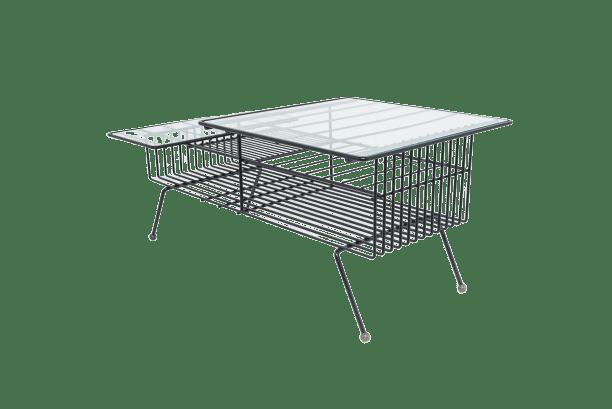 table basse en metal laque noir 1950