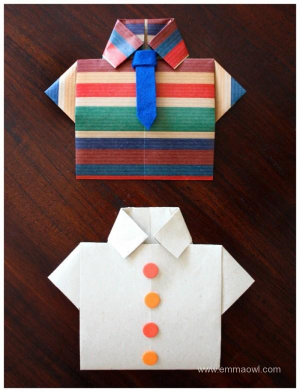 Step by step instructions how to make origami shirt. | 783x600