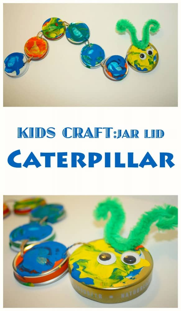 Upcycle all those jar lids by turning them into this movable - and very cute - caterpillar. Great Kids Craft Project!