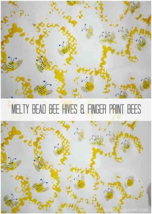 DIY Beautiful Melty Bead Bee Hives with Finger Print Bees