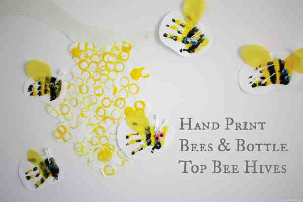 Hand Print Bees and Bottle Top Bee Hives