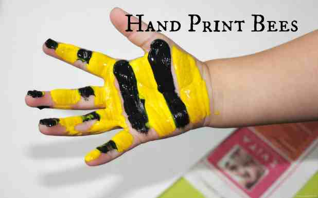 Hand print bees with bottle top bee hives