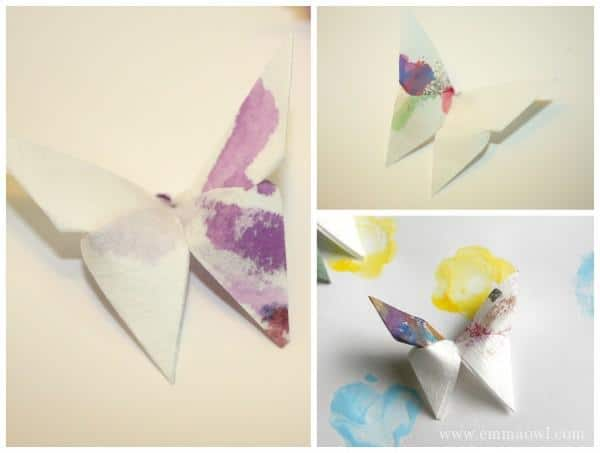 Origami Butterflies Made using coffee filter paper