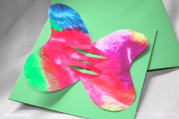 Clingflilm Painting and a butterfly card. Beautiful painting technique and gift card idea!