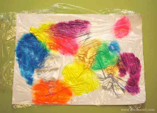 Painting with Cling Film - a great kids craft