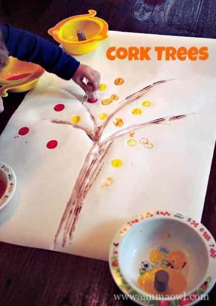 Fall Cork Painted Tree