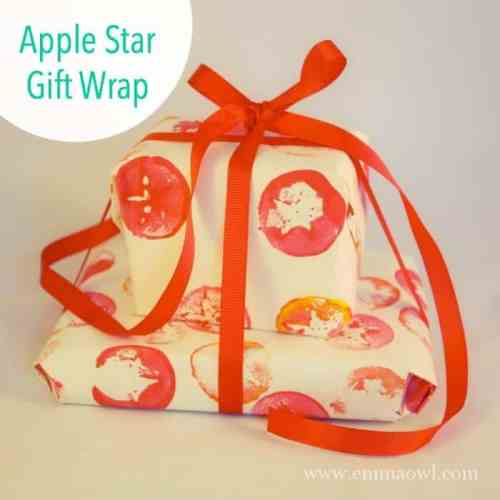 Make this easy Apple Star Gift wrap for Christmas. A perfect little Christmas DiY