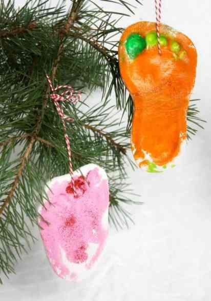 Christmas Tree Salt Dough Footprint Decoration