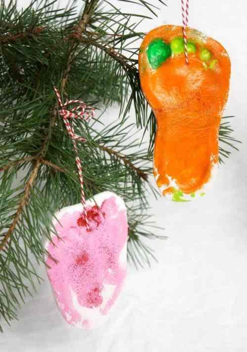 Christmas Tree Salt Dough Footprint Decoration