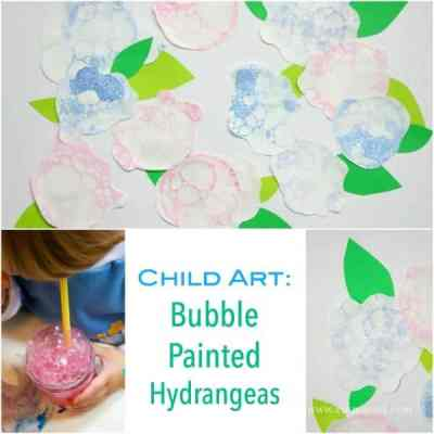 Child Art - Bubble Painted Hydrangeas