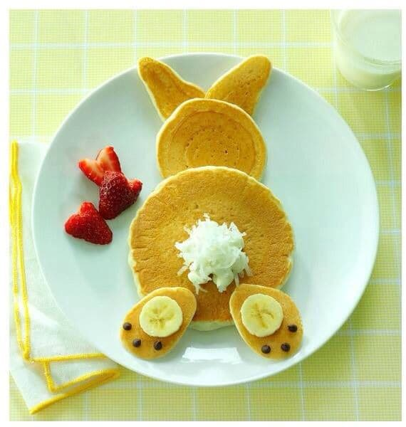 Easter Bunny Pancakes for Breakfast