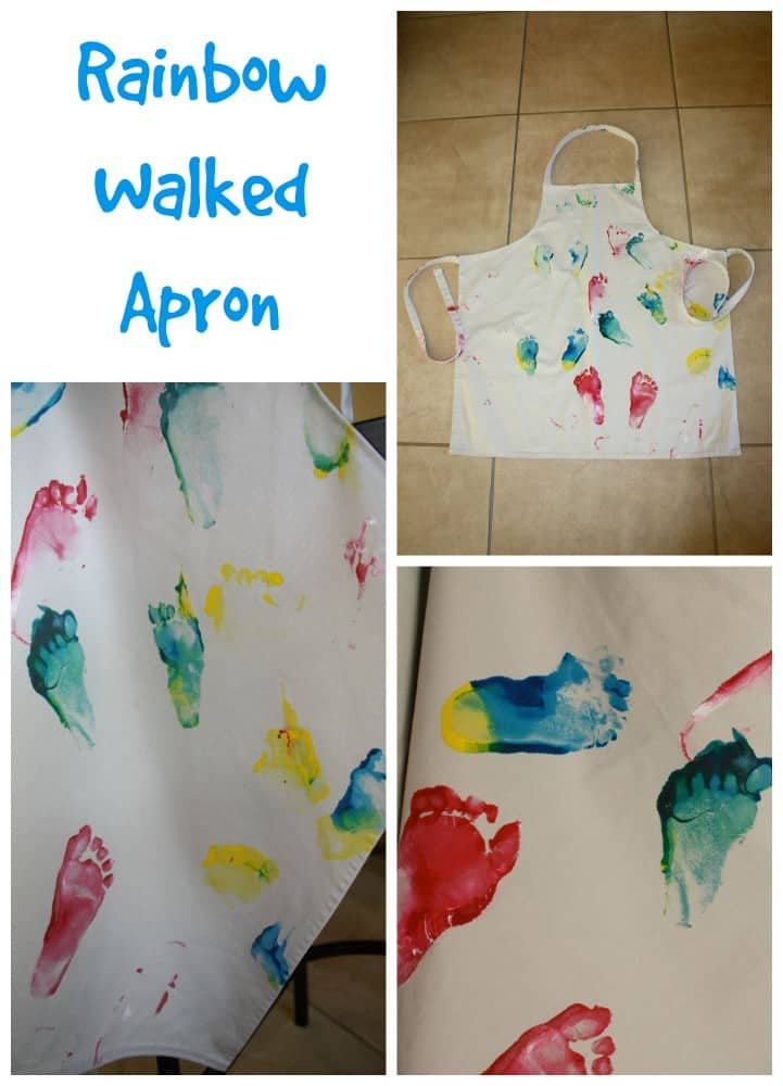 Rainbow walked Apron. Great kids footprint gift idea.