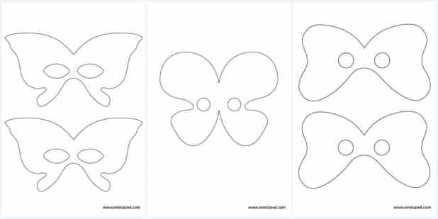 Free Printable Butterfly Masks - smaller size