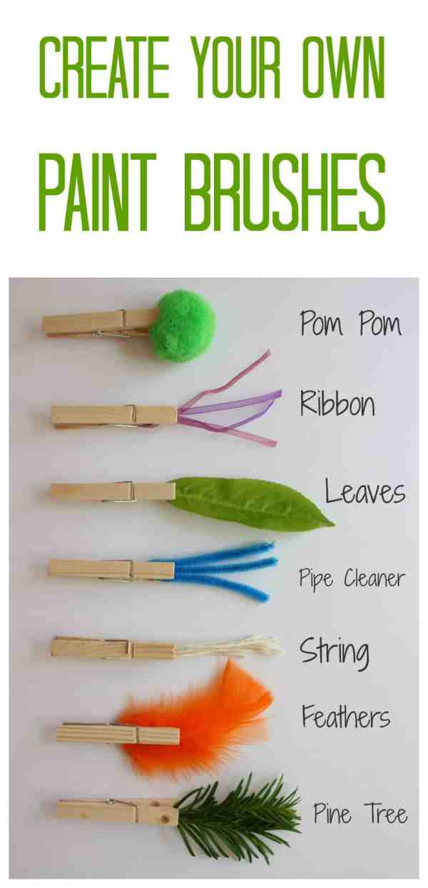 Create your Own Paint Brushes. All you need are some wooden pegs and an imagination