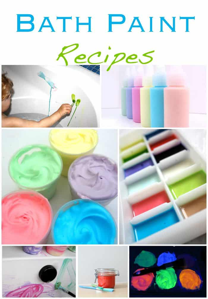 If you need to carry on painting through bath time here are wonderful bath paint recipes for you to try!