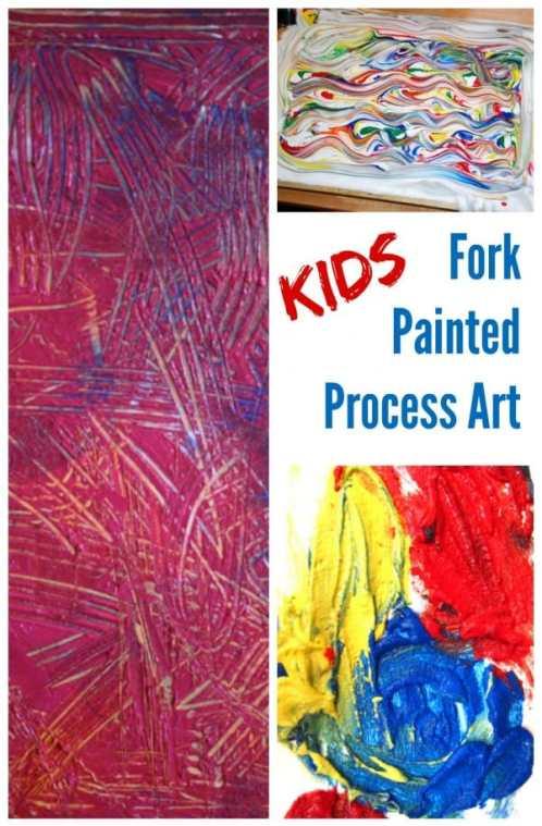 Kids Fork Painted Process Art Activities