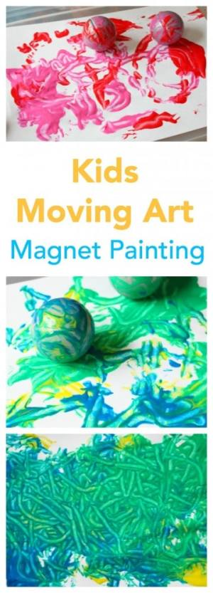 Such an exciting painting activity for kids - as they need to move and balance - and the result is a wonderful piece of art!