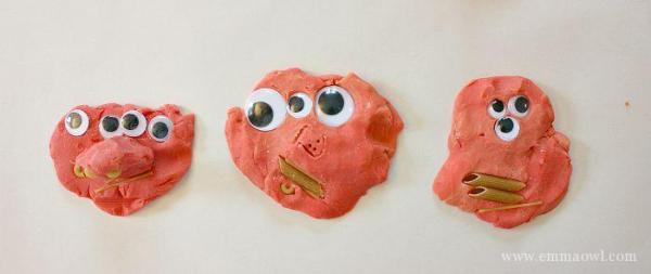 A 3 years olds pasta and play dough monsters