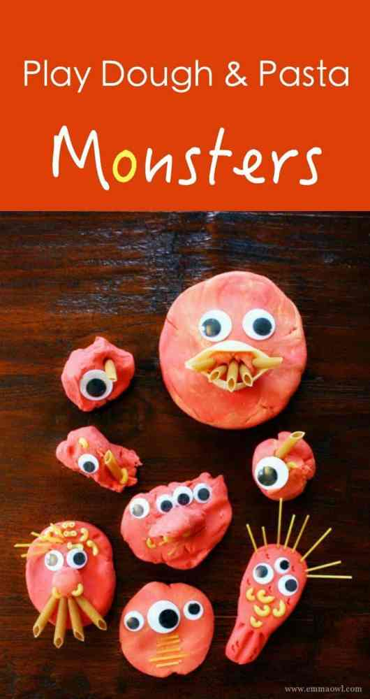 Play Dough & Pasta Monsters make the best play activity near halloween. So easy to set up and kids love love love this! Kids Activities for Halloween made simple!