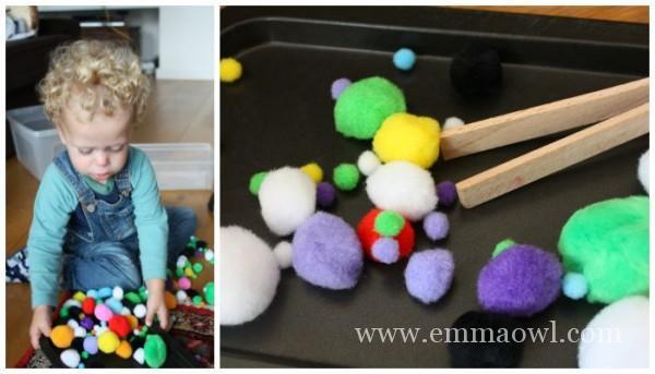 great little kids idea for fine motor play - pom pom bin