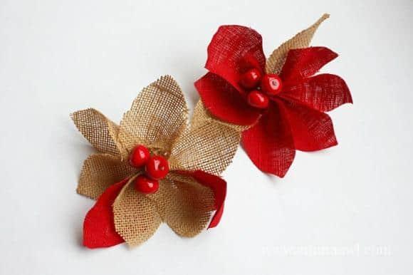 Burlap Pointsettia - great christmas tree ornament