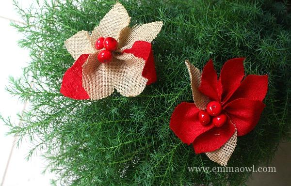 DiY Burlap and Red Weave Pointsettia