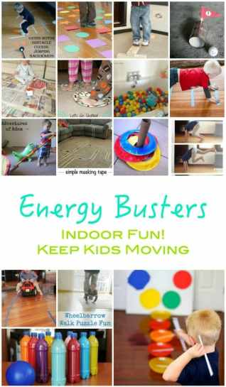 Energy Busters!! Here are some great ideas for those rainy indoor days - to keep moving!