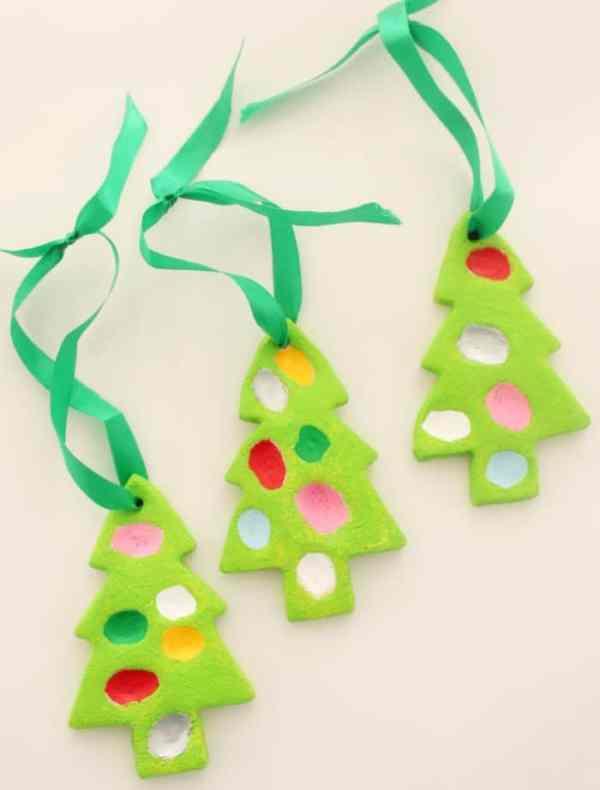 Finger Print Christmas Trees - Easy Salt Dough Christmas Tree Decoration