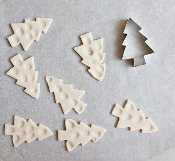 Making salt dough fingerprint christmas trees