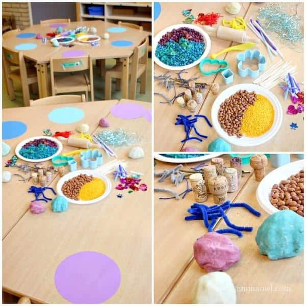 Winter Themed Play Dough Table