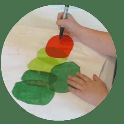 tissue paper caterpillar