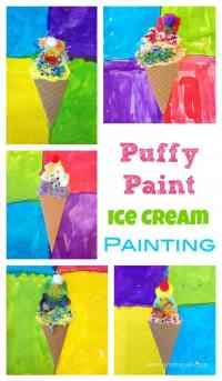 Fabulous Kids Art Activity - Make these puffy paint ice creams and decorate! Homemade Puffy Paint Recipe included!