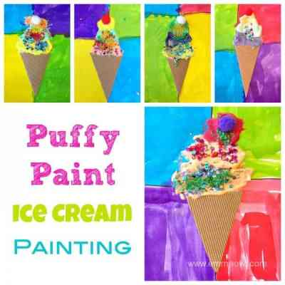 Puffy Paint Ice Cream Painting. Great Art project for kids