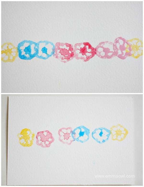 printing flower postcards with okra