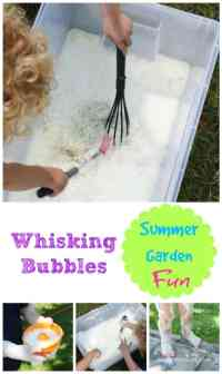 Summer Time Fun - whisking bubbles in the garden - this is a great activity for kids